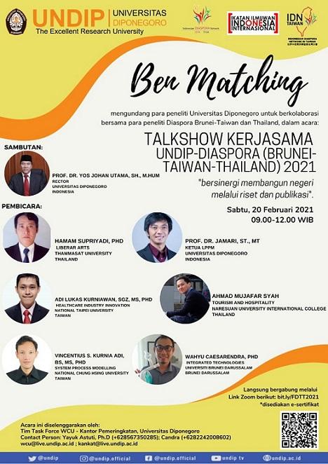 TALKSHOW KERJASAMA UNDIP-DIASPORA 2021 Seri 2 : Brunei-Taiwan-Thailand